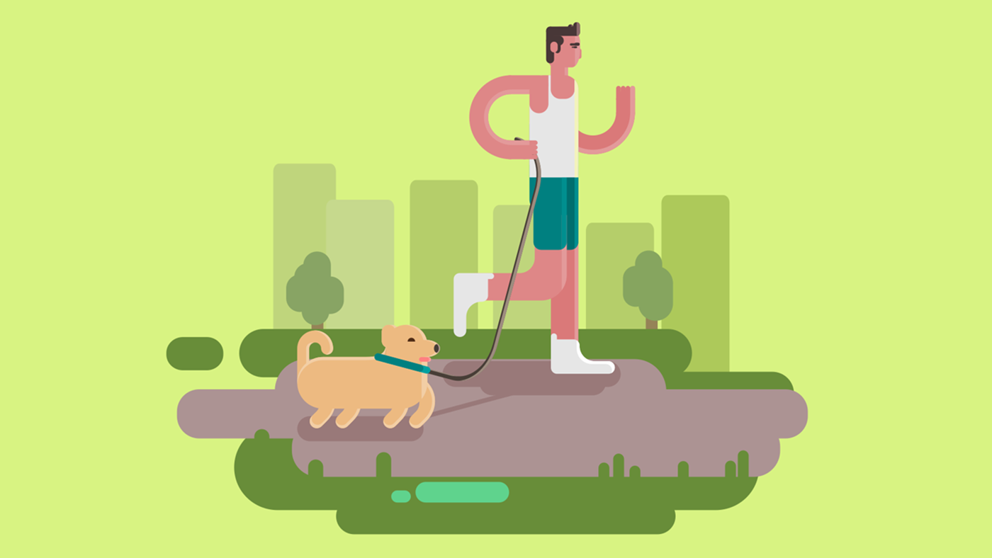 Graphic of a Runner with Dog