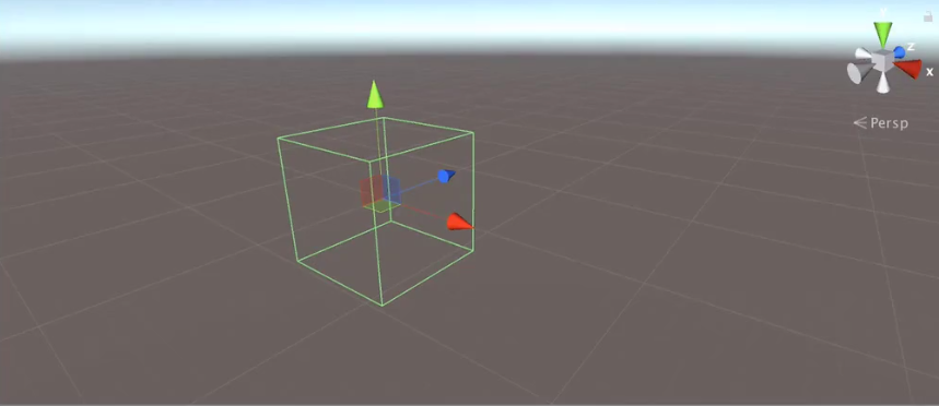 screenshot of a unity viewport with a cube outline.png