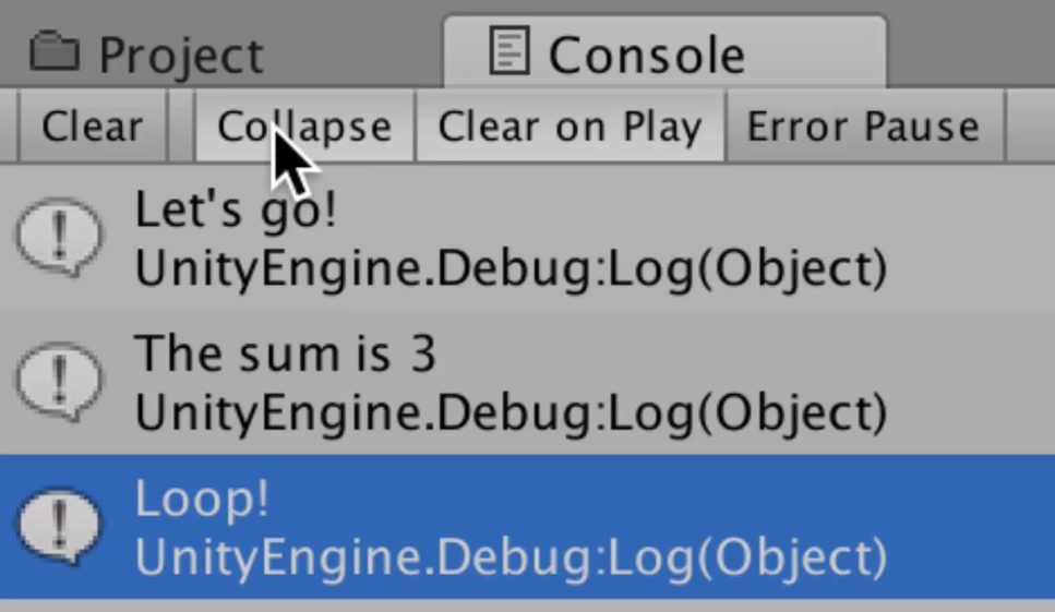 screenshot of the unity console with the collapse button