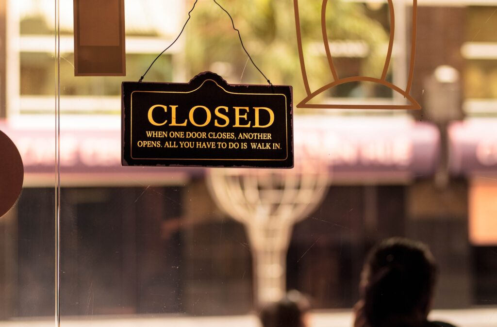 Photograph of a Store Closed Sign