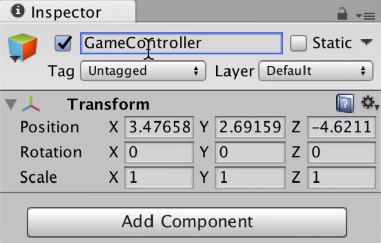the inspector of a game object named gamecontroller