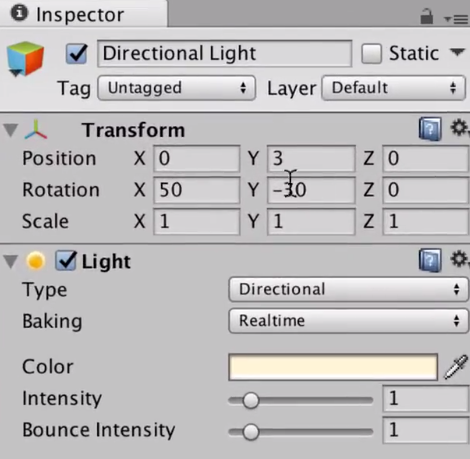 the light component shown in the unity inspector
