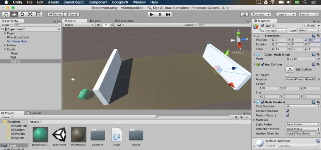 two walls and a button in a unity game