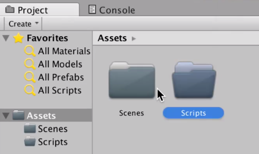 unity assets folder with scenes and scripts