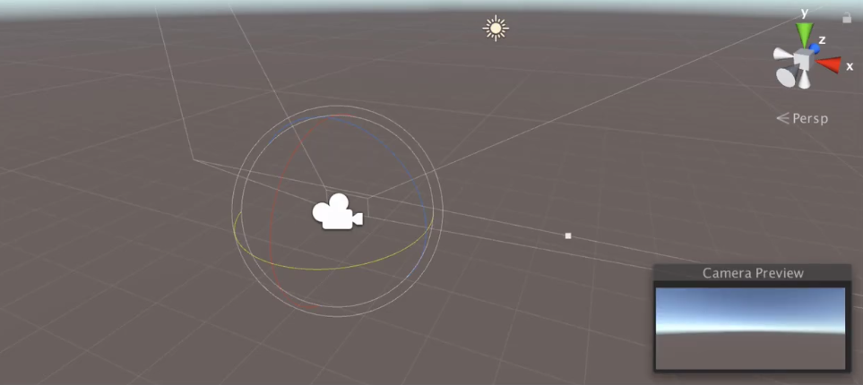 unity viewport with a main camera and the rotate tool