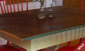 Farm Table & Red Chairs