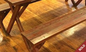 Rustic Red Picnic Table and Benches