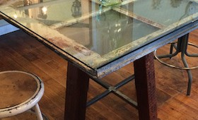 Industrial Metal Window Table