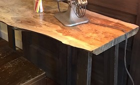 Live Edge Table with Metal Base