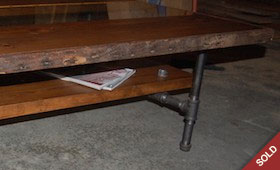 Wood, Glass & Pipe Coffee Table