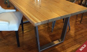 Reclaimed Wood and Metal Base Table