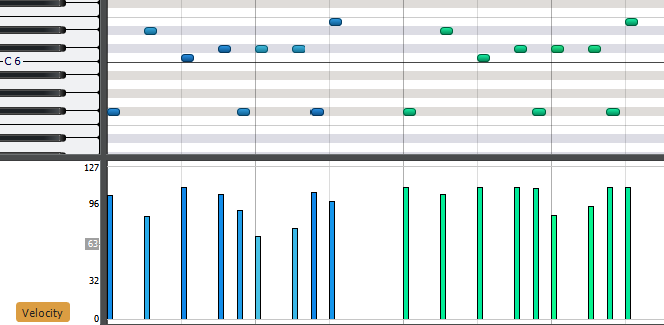 MIDI data prior to being velocity-limited
