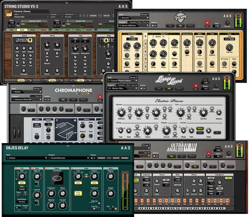The five instruments and delay processor included in the Applied Acoustics Modeling Collection.