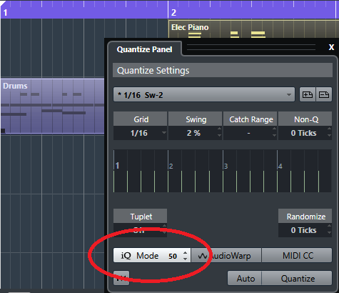 Quantizing with a strength of under 100% can retain a more humanized feel with timing.