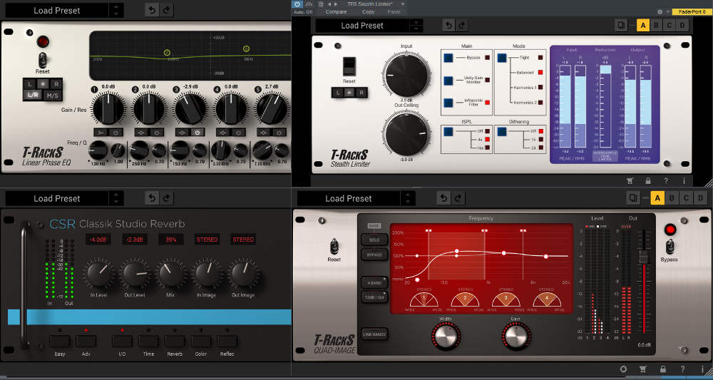 This image shows four signal processors: Linear-Phase Equalizer, Stealth Limiter, Quad Image, and CSR Classik Studio Reverb.