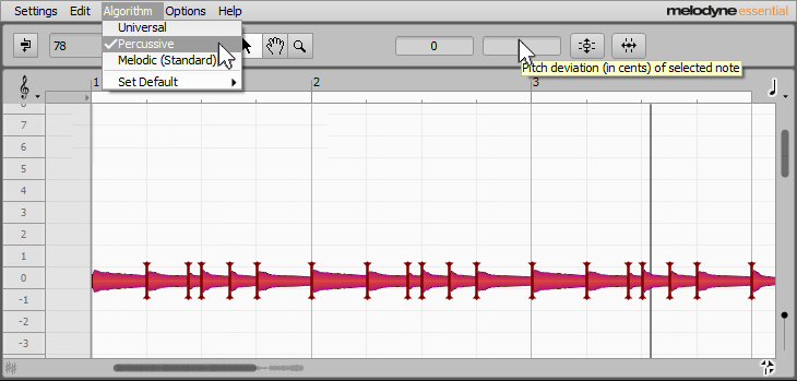 This image shows Melodyne in percussive analysis mode, which is essential to do envelope-controlled flanging.