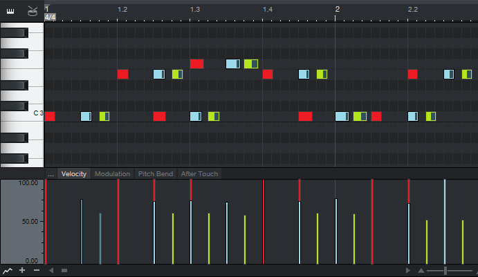 This image shows how copying and time-shifting a MIDI track creates MIDI echo effects.