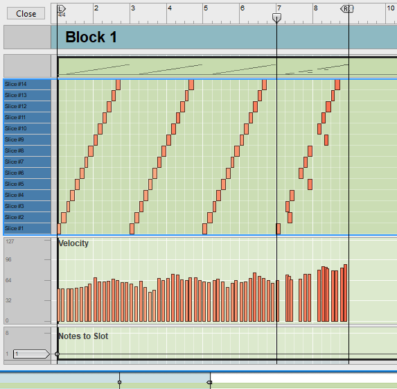 REX files cut digital audio into slices, triggered by MIDI notes—and you can move those MIDI notes around to create entirely different loops and rhythms.