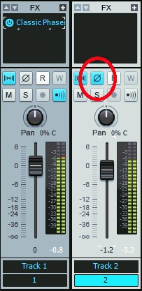 Cakewalk software has a phase switch on every console channel. This is what you need to flip to change the phase.