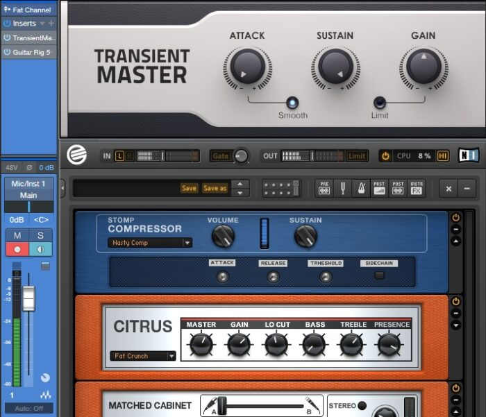 Native Instruments' Transient Master plug-in used with guitar amp simulation.