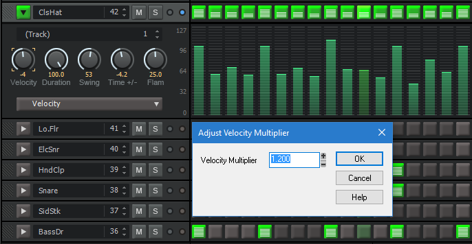 Adding velocity and other variations to step-sequenced drum parts can make them sound far more interesting.