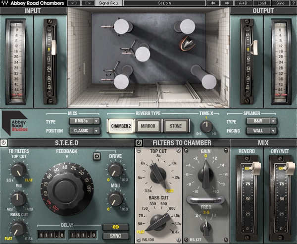 This image shows the user interface for the Abbey Road Chambers plug-in from Waves emulates the famous reverb sound of Abbey Road studios in England.