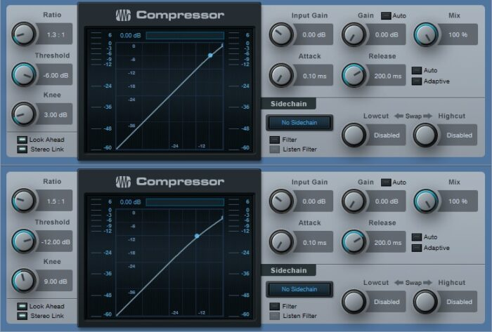 """Two compressors in series, set for very gentle compression effects, can serve as a """"glue"""" compressor for buses."""