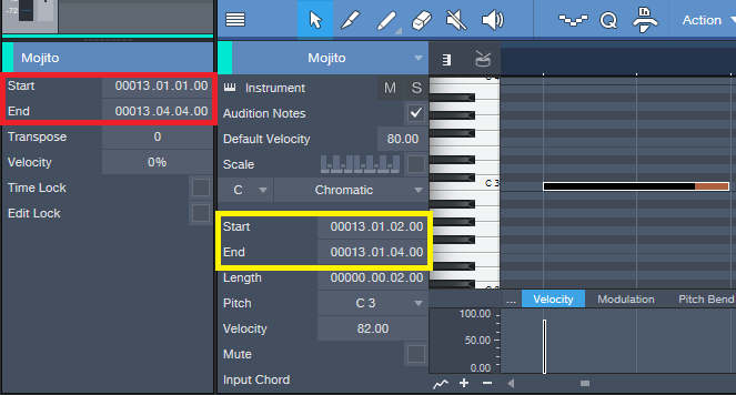 Screen shot shows how to change start times of Studio One Events