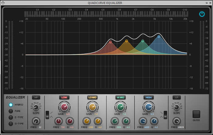 EQ curve with four response peaks to create an alterate clean guitar sound
