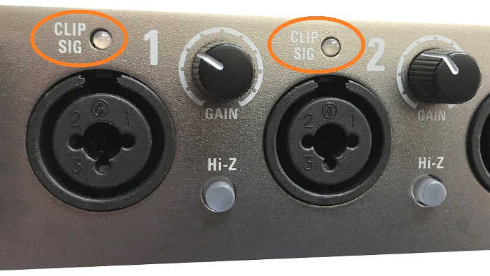 The instruments inputs on an audio interface include clip indicators to show when the input levels are distorting.