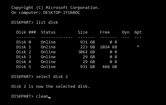 This shows the command line prompts to change the Windows MBR disk format to a GPT disk format.