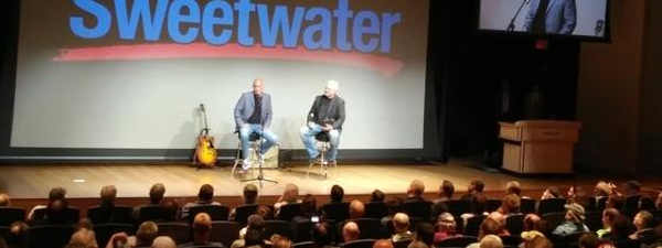 Guitarist Larry Carlton being interviewed by Sweetwater's Mitch Gallagher during GearFest.