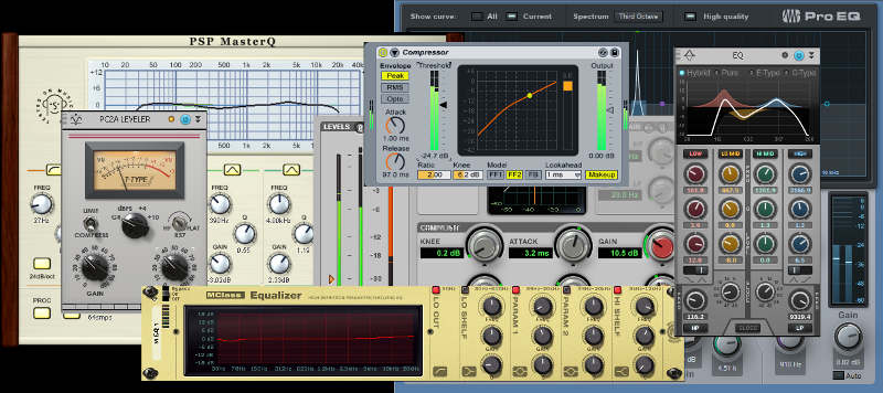 Collage of EQ and compressor plug-in screenshots