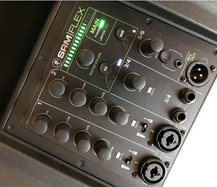 Image of the top control panel of the SRM-Flex, showing the controls, inputs, and output.