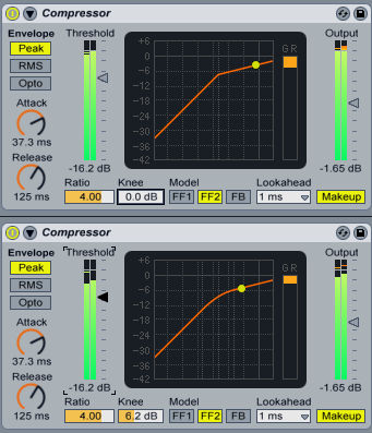 The image shows two different compression curves for Ableton Live, one with a soft knee, the other with a hard knee.