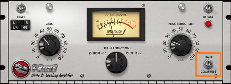 The LA-2A's limit/compress switch offers limiting as well as compression.