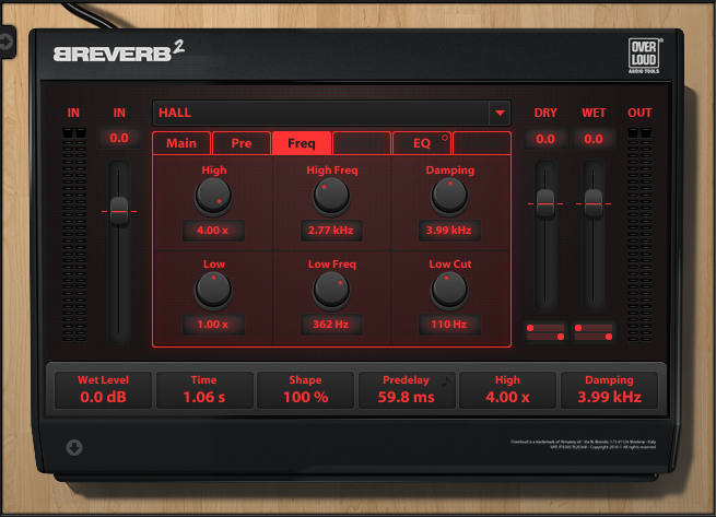 Screen shot of Overloud's Breverb 2, which allows separate high and low frequency reverbs.