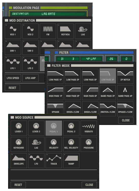 Screen shots of the Modulation Page, Filter Page, and Mod Source page, showing their various icons.