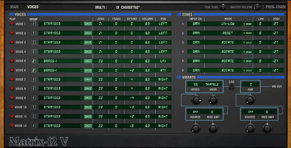 Screen shot of the Multi page, which can layer multiple presets.