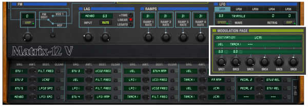 Screen shot of the Matrix-12's modulation sections.