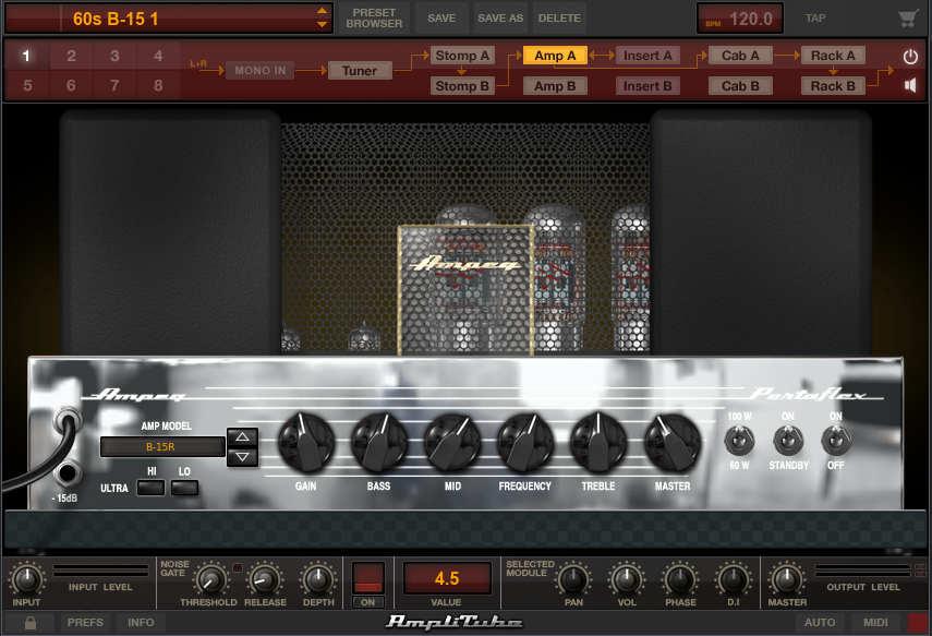 Screen shot of B15 module from IK Multimedia's SVX bass amp plug-in.