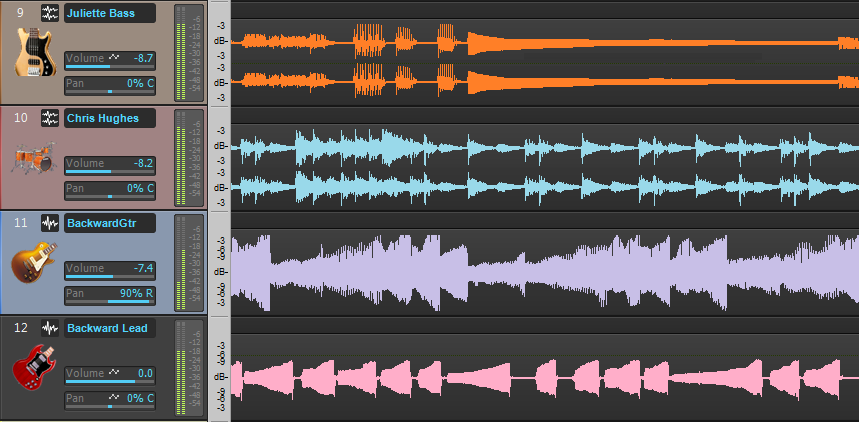 Screen shot of forward and reversed tracks in a DAW