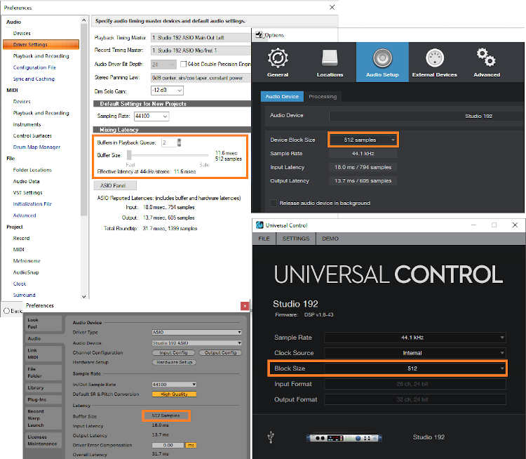 Collage of preferences screens for setting latency, including Cakewalk, Studio One, and Ableton Live