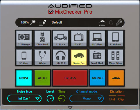 screenshot of Audified's MixChecker that shows an array of buttons for choosing different emulations of playback systems, and variations on those emulations such as background noise and whether the system is mono or stereo.