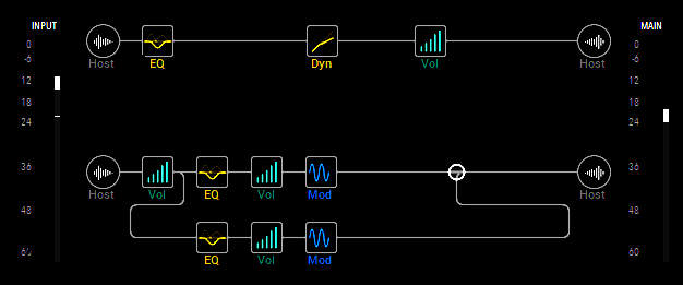 Screen shot shows the bass being split into two paths, one dry, and one with signal processors that are layered on top of the dry sound.