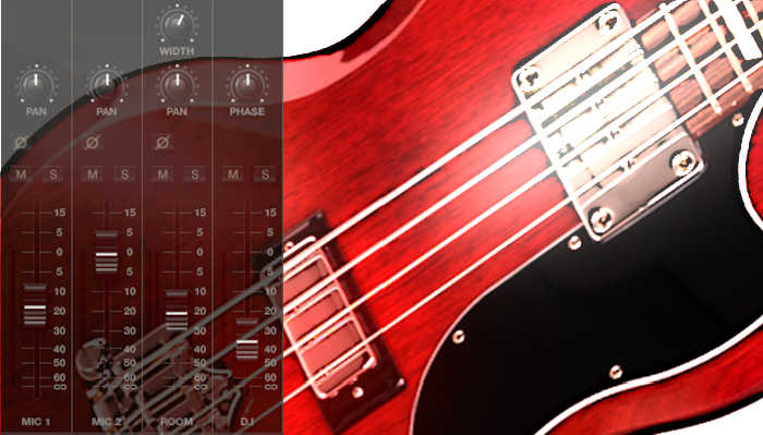 image of SG bass, whose pickup has four pole piece screws that adjust the level of each string