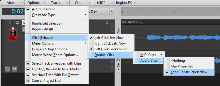 This image shows how to make sure the Loop Construction View opens up when you double-click on a Clip, by navigating a menu tree.