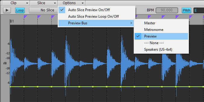This image shows how to select the Preview bus for loops from the Options menu in the Loop Construction window.