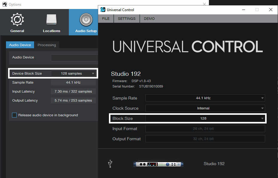 Windows for adjusting latency in the PreSonus Universal Control app, and the audio interface settings with the Studio One host program.