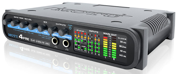MOTU 4Pre compact audio interface with 4 mic preamps and digital mixing